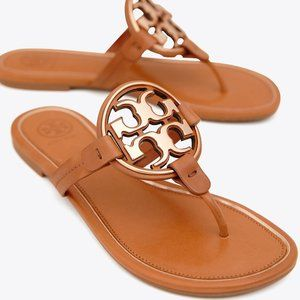 NEW Tory Burch Miller Metal Logo Leather Sandals